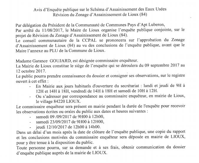 Avis d'enquête Lioux