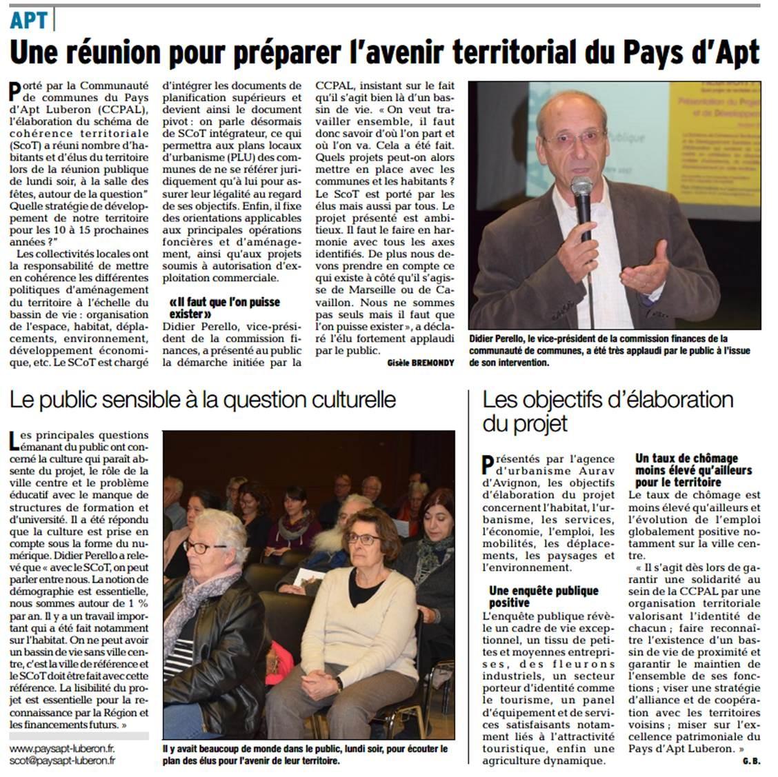 RP 2 - Réunion Publique 6 nov - PADD - Vaucluse matin - Gisèle Bremondy