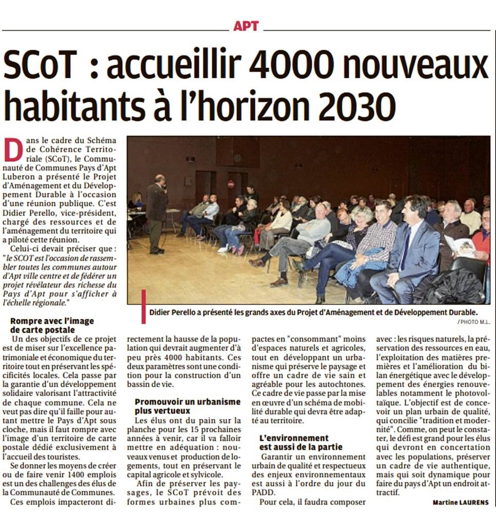 RP - Réunion Publique 6 nov - PADD - La Provence - Martine Laurens