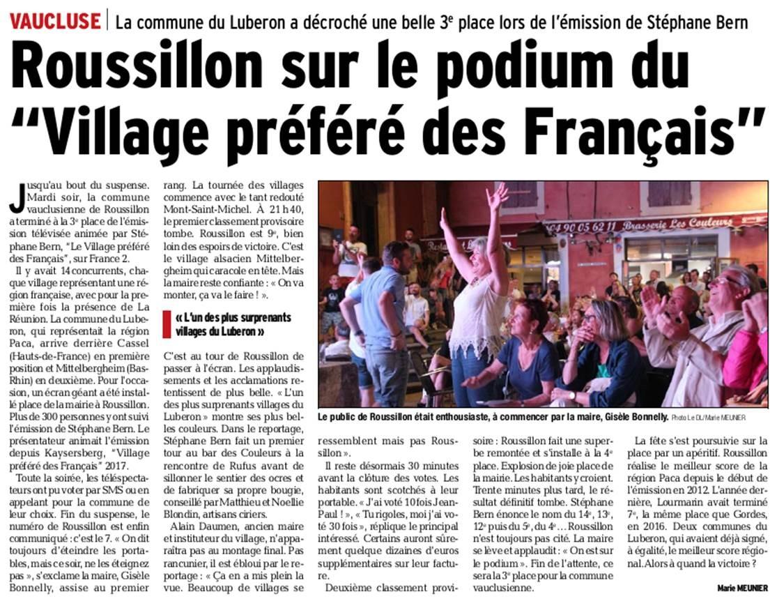 Roussillon - 3ème Village préféré - Vaucluse matin 21 06 2018