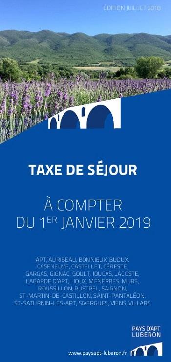 1er Couv. Dépliant Taxe de séjour 2019