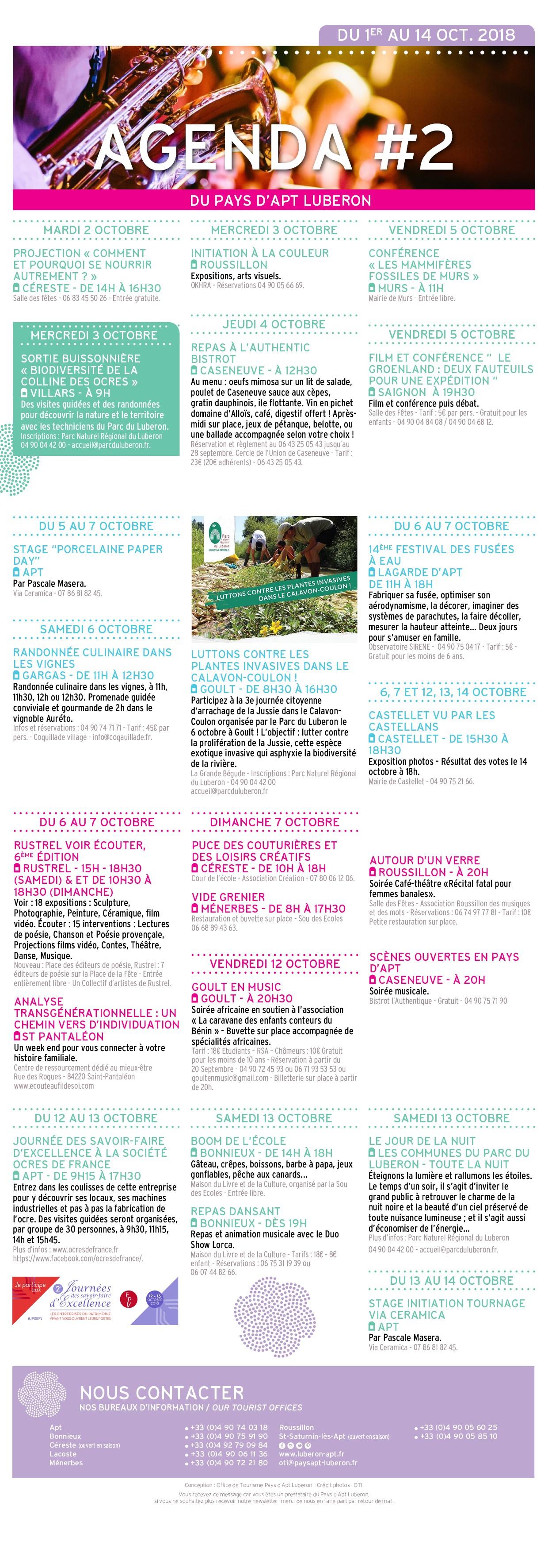 Agenda culturel - 1er au 14 oct. 2018