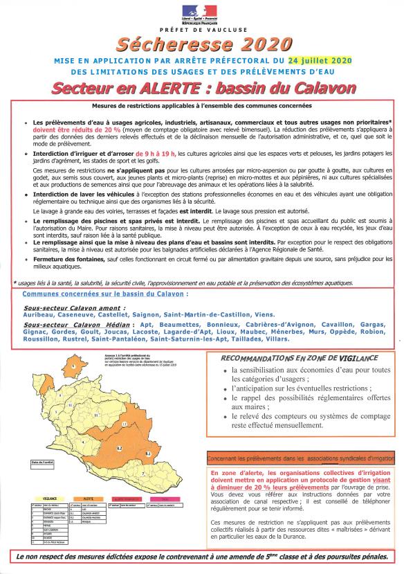 Affiche alerte secheresse_2020